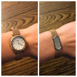 NWOT rose gold diamond face watch / bracelet combo